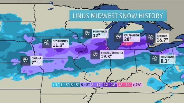 Winter Storm Linus - Midwest Totals via weather.com