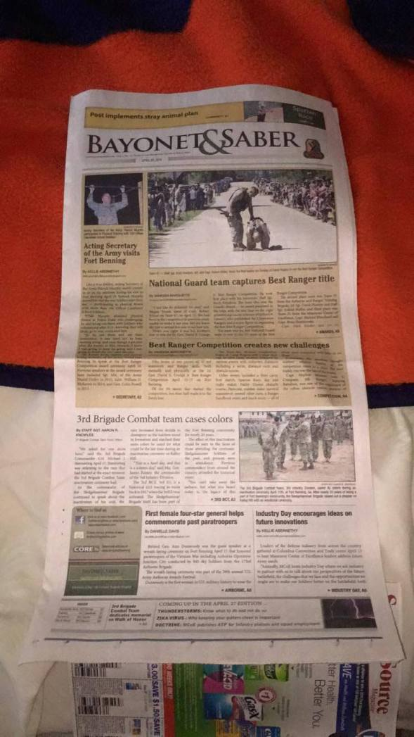 My last newspaper! Two of my stories on the front :)